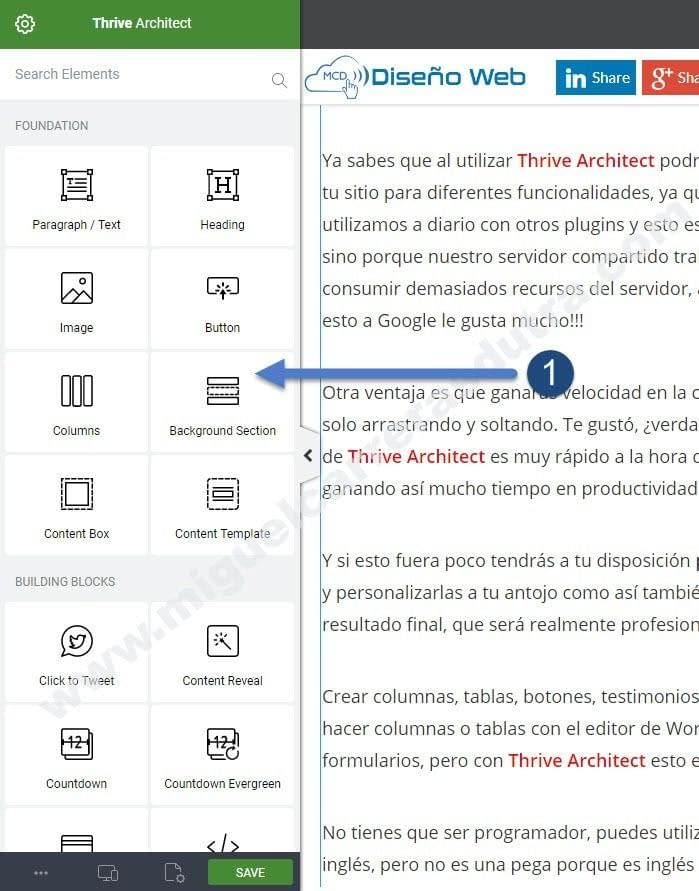 thrive architect tutorial en español